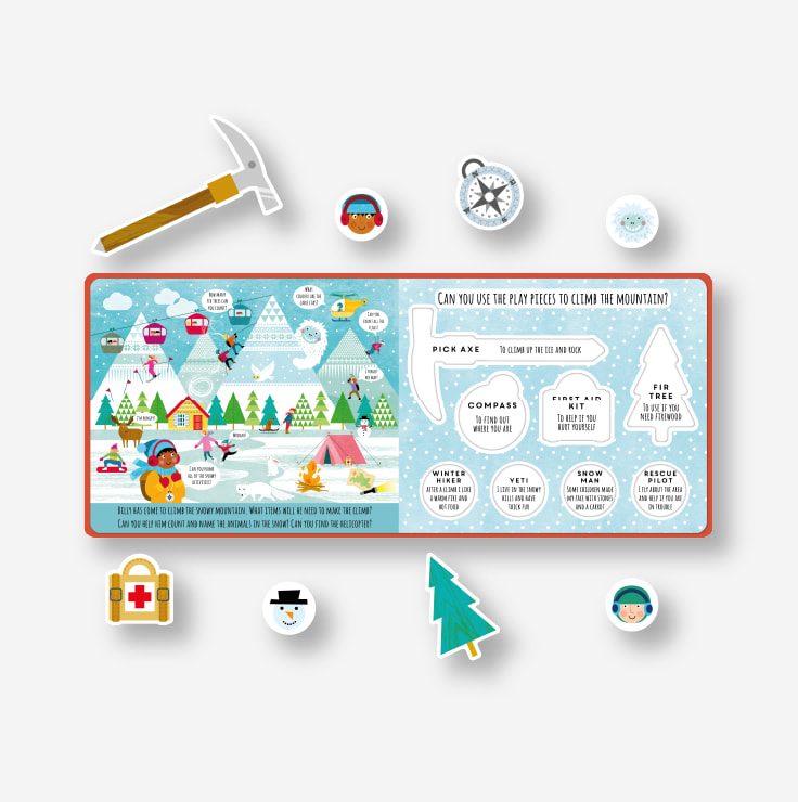 Playtime - Adventure example spread and pieces